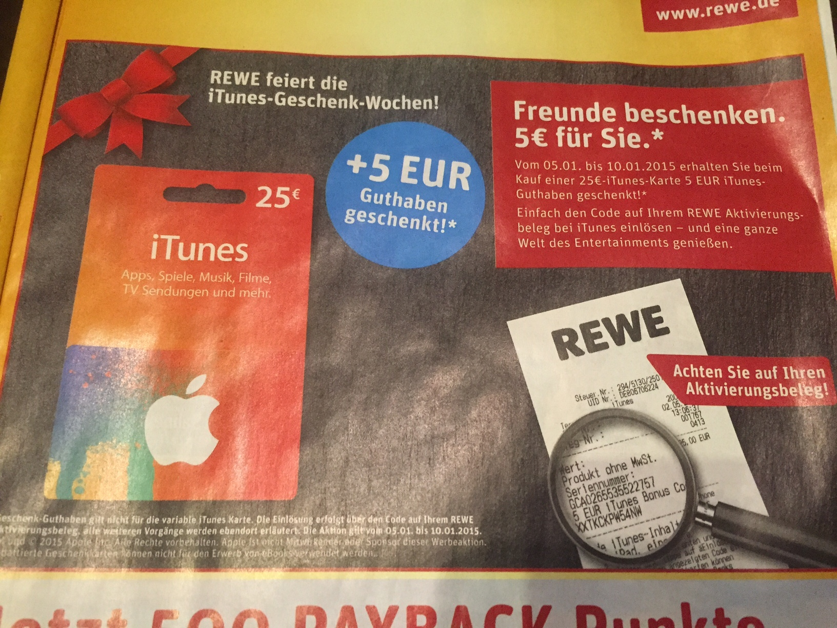 rewe itunes geschenk wochen angebot bluray. Black Bedroom Furniture Sets. Home Design Ideas