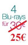 Amazon.de: Kombination der 4 für 30-Aktion mit der 7 Tage Schnäppchen-Aktion (ab 5,63€ pro Film)