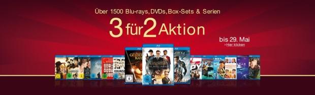 Amazon.de: 3 für 2 Aktion (27.05. – 29.05.16)