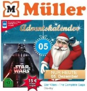 Mueller: Adventskalender am 05.12.2016 – 15€ Rabatt Coupon auf Star Wars: The Complete Saga [9 Blu-rays]