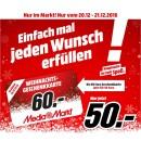 MediaMarkt: 60€ Geschenkkarte für 50€ (Nur im Markt! Nur vom 20.12 – 21.12.2016)