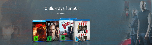 Amazon.de: 10 Blu-rays für 50 EUR (09.01. – 15.01.17)