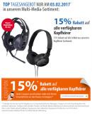 [Offline] Müller: 15% Rabatt auf alle verfügbaren Kopfhörer am 03.02.2017 + 15% zusätzliches iTunes Guthaben auf 25€/50€ Karten)