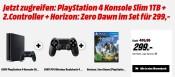 MediaMarkt.de: PS4 Slim 1TB Konsole + 2. Controller + Horizon – Zero Dawn für 299€