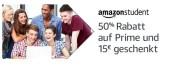 Amazon.de: Amazon-Prime mit 50% Rabatt und 15€ Gutschein für neue Amazon-Student-Mitglieder