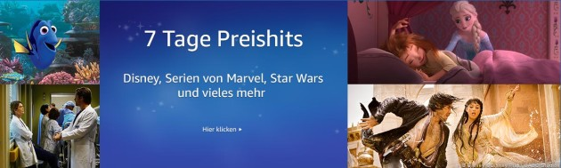 Amazon.de: Neue Aktionen – Disney 7 Tage Preishits & Studiocanal 3 für 2 (bis 20.08.17)