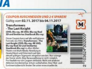 Müller 2€ Rabatt Transformers - Tehe Last Knight