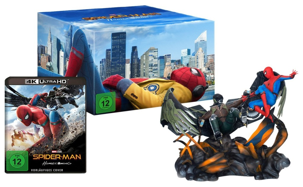 spider man homecoming figurine spiderman vs vulture 4k ultra hd blu ray limited edition. Black Bedroom Furniture Sets. Home Design Ideas