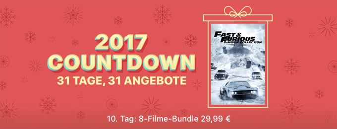 itunes adventskalender fast furious 8 filme collection. Black Bedroom Furniture Sets. Home Design Ideas