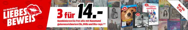 Amazon & MediaMarkt.de: 3 für 14€ auf CD, DVD und Blu-ray (über 1.000 Titel) bis 17.02.18 z.B. Der Marsianer, Deadpool, usw.