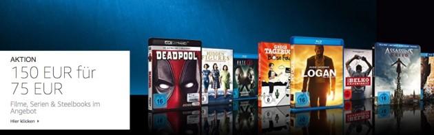 Amazon.de: Neue Aktionen u.a. 150 EUR Filme für 75 EUR (bis 08.04.18)
