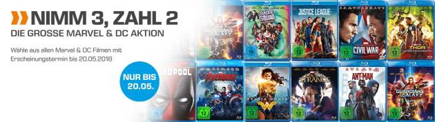 Amazon kontert Saturn.de: Nimm 3, Zahl 2 Aktion auf Marvel & DC Blu-rays bzw. DVDs ab 24.04.18