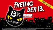 Weltbild.de: Freitag der 13. – 13% Rabatt auf alles!* (bis 15.04.18)