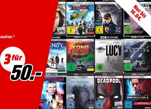 MediaMarkt 3 für 50 4K Blu-rays