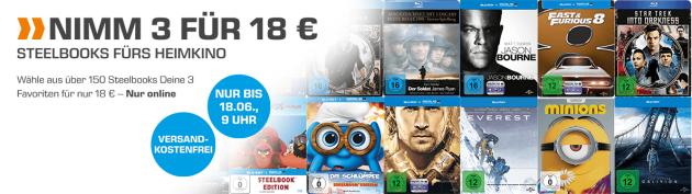 Saturn.de: 3 Steelbooks für 18€ inkl. VSK (bis 18.06.18 – 9 Uhr)