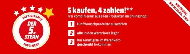 MediaMarkt.de: 5 kaufen, 4 zahlen auf den gesamten Onlineshop (bis 25.06.18 – 9 Uhr)