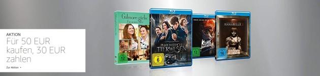 Amazon.de: Titel im Wert von 50 EUR für 30 EUR und 4 Blu-rays für 22 EUR (bis 08.07.18)