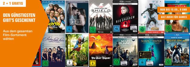 Amazon kontert Saturn.de: 2x kaufen + 1x geschenkt auf Filme, Serien & Games [Online & Offline] (28.08. – 10.09.18)