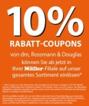 Müller: 15% Rabatt bei Vorlage eines 10% Coupon von Rossmann, DM oder Douglas