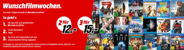 MediaMarkt.de & Saturn.de: Wunschfilmwochen u.a. 2 Blu-rays für 12€ oder 3 Blu-rays für 15€