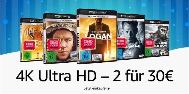 Amazon.de: Filme Sparpaket-Woche u.a. 4K UHD Blu-rays – 2 für 30 EUR (bis 05.12.18)