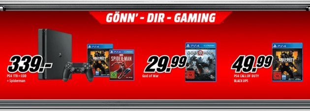 MediaMarkt.de: Gönn Dir Gaming u.a. God of War – Day One Edition (PS4) für 29,99€