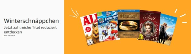 Amazon.de: Winterschnäppchen – Filme reduziert und 10 Blu-rays für 50 EUR (bis 26.11.18)