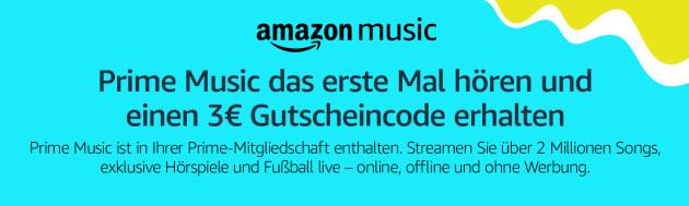 Amazon.de: Prime Music das erste Mal hören und einen 3€ Amazon Gutschein erhalten (bis 10.01.19)