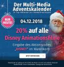 Mueller.de: 20% Rabatt aud ALLE Disney Animationsfilme – Nur am 04.12.2018  + ohne VSK