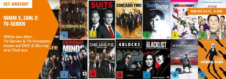 Amazon kontert Saturn.de: 3 für 2 – gesamtes TV-Serien-Sortiment