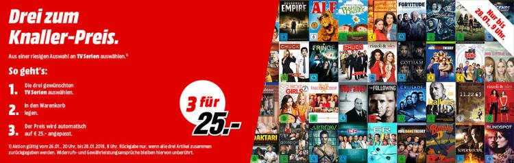 MediaMarkt.de: 3 für 25 TV Serien (26.01. – 28.01.2019)