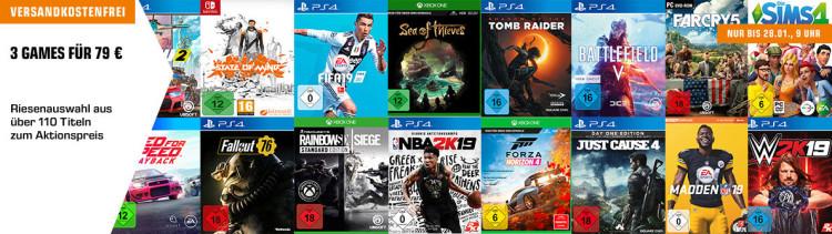 Amazon kontert MediaMarkt.de & Saturn.de: 3 Spiele für 49€, 79€ oder 111€