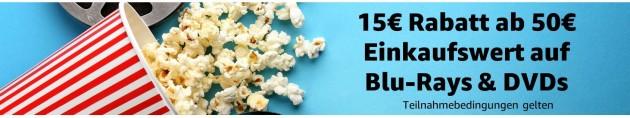 Amazon.de: 15€ Rabatt ab 50€ MBW auf Blu-rays / DVDs (mehr als 9.000 Artikel)
