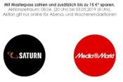 Saturn.de / MediaMarkt.de: Bis zu 15€ sparen bei Masterpass Bezahlung bis 03.05.19