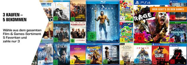 Amazon kontert Saturn: 3 Kaufen 5 Bekommen auf Filme und Games (14.05. – 28.05.19)