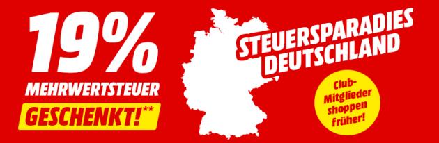 MediaMarkt: 19% Mehrwertsteuer geschenkt – Auf Alles! (Effektiv: 15,966%) Bis 23.06.2019