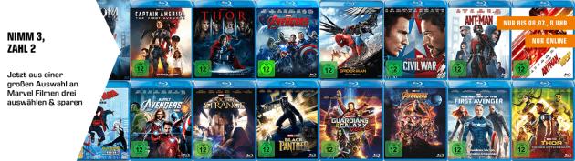 Saturn.de: 3 für 2 Aktion auf Marvel Filme (bis 08.07.19, 8 Uhr)