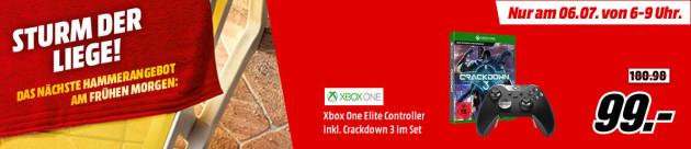 MediaMarkt.de: Xbox One Elite Controller inkl. Crackdown 3 im Set für 99€ (Nur am 06.07. von 6-9 Uhr)