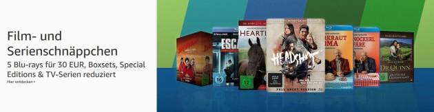 Amazon.de: Film- und Serienschnäppchen u.a. 5 Blu-rays für 30 € (bis 01.09.19)