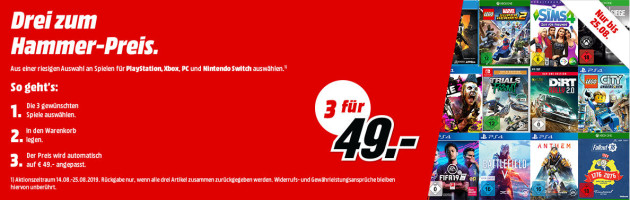 Amazon kontert MediaMarkt.de: 3 Games für 49€ oder 3 für 79€ (14.08. – 25.08.2019)