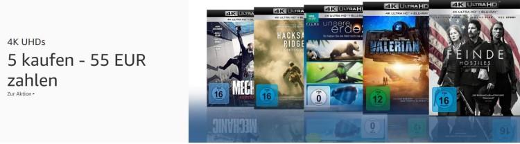 Amazon.de: Neue Aktionen u.a. 5x 4k-UHD für 55 Euro (bis 18.08.19)