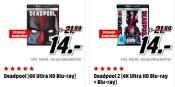 MediaMarkt.de: Deadpool 1 + 2 (4K UHD) und andere 4K Blu-rays für je 14 Euro