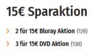 Mueller.de: 2 Blu-rays für 15€ & 3 DVDs für 15€