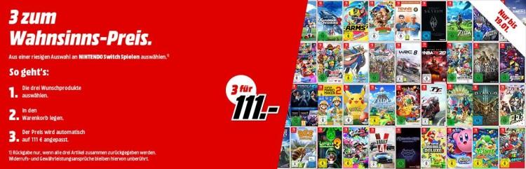 Amazon.de kontert MediaMarkt.de: 3 Switch Spiele für 111€ (bis 19.01.20)