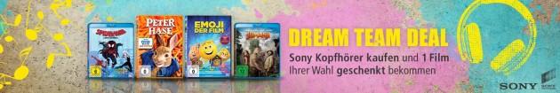 Amazon.de: Dream Team Deal – Sony Kopfhörer kaufen und eine Blu-ray / DVD geschenkt bekommen