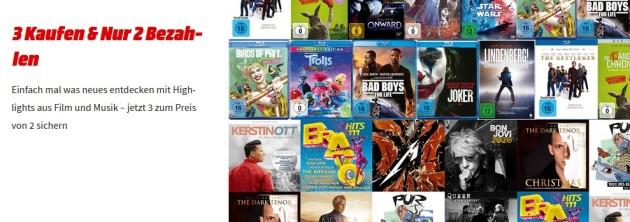 Amazon kontert MediaMarkt.de: 3 für 2 Aktion! (Film & Musik Sortiment) bis 22.11.20