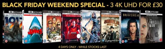 Zoom.co.uk: Black Friday Weekend Special – 4K UHD Blu-rays für 33,60€ + VSK