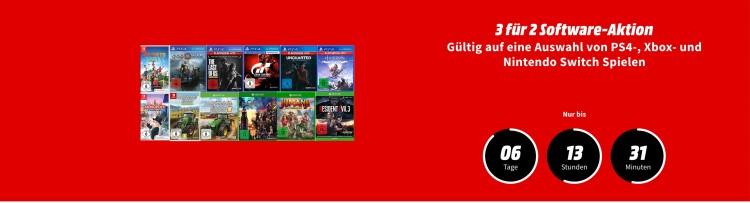 Saturn.de / MediaMarkt.de: 3 für 2 Aktion auf ausgewählte Xbox One, PS4 & Nintendo Switch Spiele
