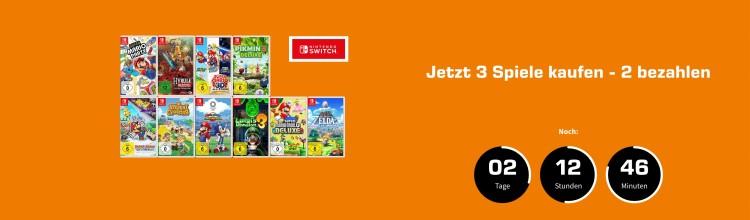 Amazon kontert MediaMarkt.de / Saturn.de:  3 für 2 Aktion auf ausgewählte Nintendo Switch Spiele