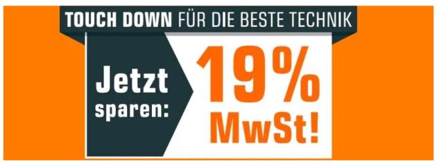 Saturn.de: Ab Sonntag 19% MwSt (entspricht =16%) geschenkt auf alle sofort verfügbaren Artikel